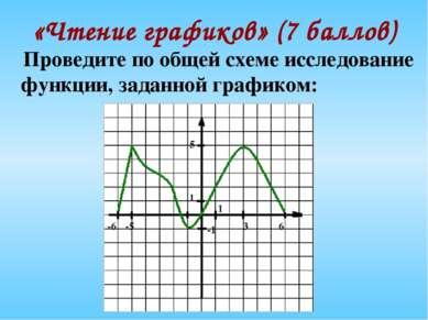 «Чтение графиков» (7 баллов) Проведите по общей схеме исследование функции, з...
