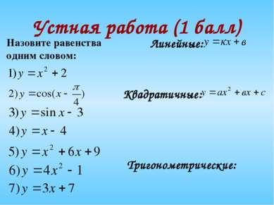 Устная работа (1 балл) Назовите равенства одним словом: Линейные: Квадратичны...