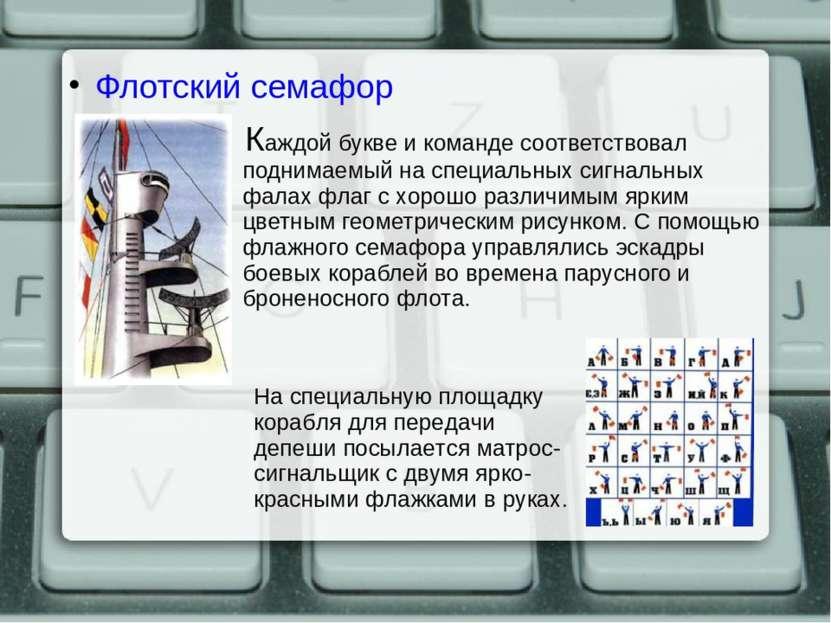 Флотский семафор Каждой букве и команде соответствовал поднимаемый на специал...
