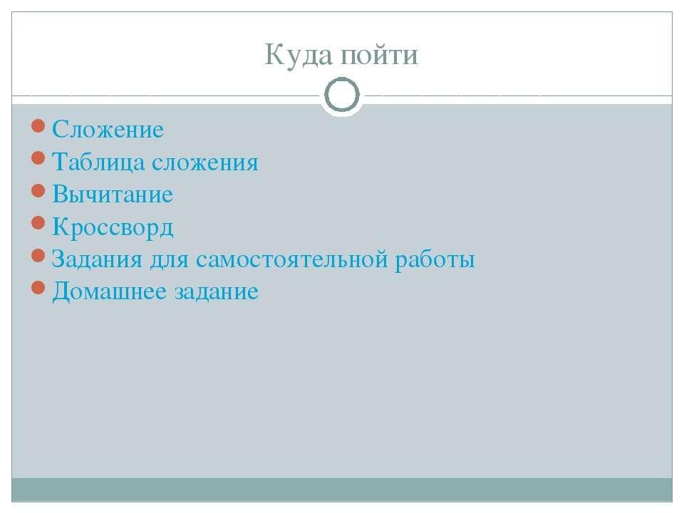 Куда пойти Сложение Таблица сложения Вычитание Кроссворд Задания для самостоя...