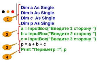 Dim a As Single Dim b As Single Dim c As Single Dim p As Single a = InputBox(...