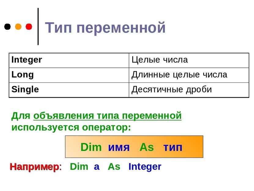 Тип переменной Для объявления типа переменной используется оператор: Dim имя ...