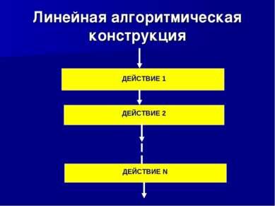 Линейная алгоритмическая конструкция ДЕЙСТВИЕ 1 ДЕЙСТВИЕ 2 ДЕЙСТВИЕ N