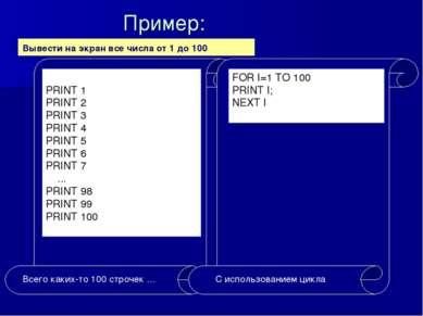 Пример: Вывести на экран все числа от 1 до 100.
