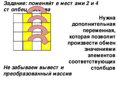 5 1 2 3 9 4 6 4 7 1 8 5 6 0 2 9 9 Задание: поменяйте местами 2 и 4 столбец ма...