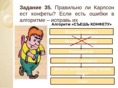 Задание 35. Правильно ли Карлсон ест конфеты? Если есть ошибки в алгоритме – ...