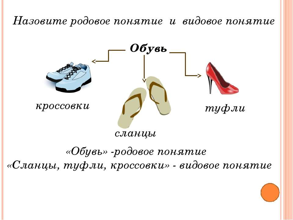 Назовите родовое понятие и видовое понятие «Обувь» -родовое понятие «Сланцы, ...