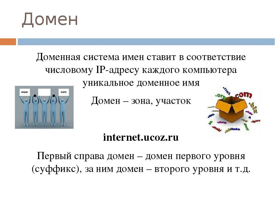 Домен Доменная система имен ставит в соответствие числовому IP-адресу каждого...