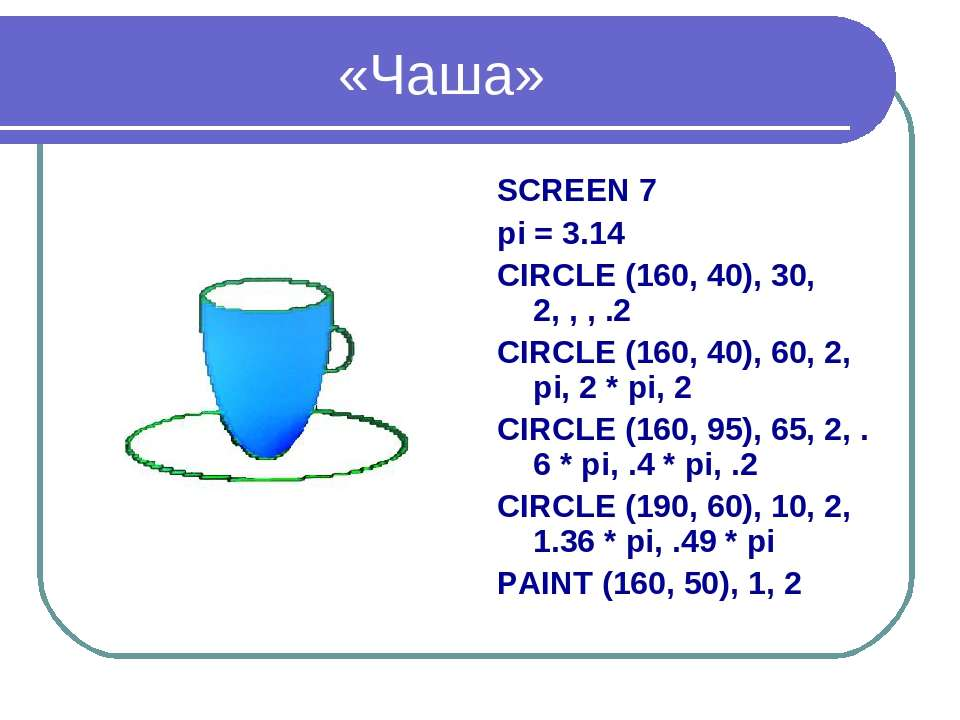 «Чаша» SCREEN 7 pi = 3.14 CIRCLE (160, 40), 30, 2, , , .2 CIRCLE (160, 40), 6...