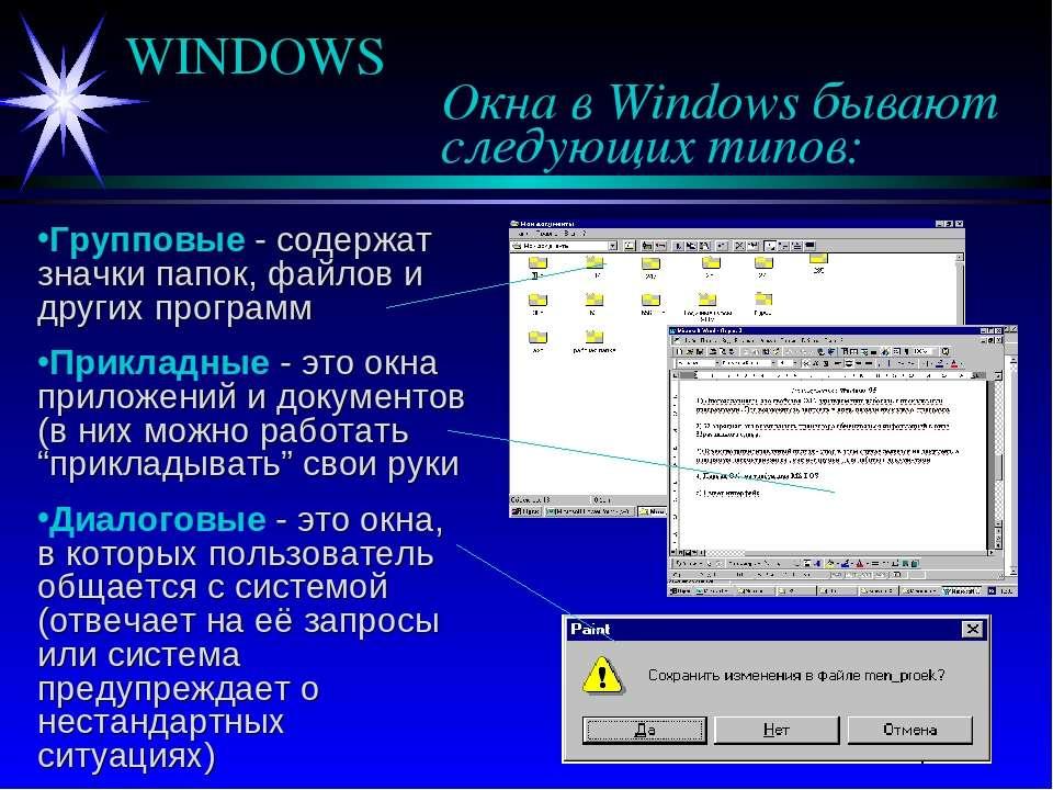 WINDOWS Окна в Windows бывают следующих типов: Групповые - содержат значки па...