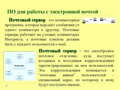 Почтовый сервер - это компьютерная программа, которая передаёт сообщения от о...