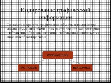 Кодирование графической информации Создавать и хранить графические объекты в ...