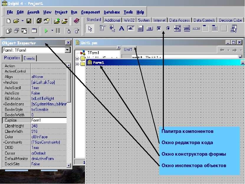 Палитра компонентов Окно редактора кода Окно конструктора формы Окно инспекто...