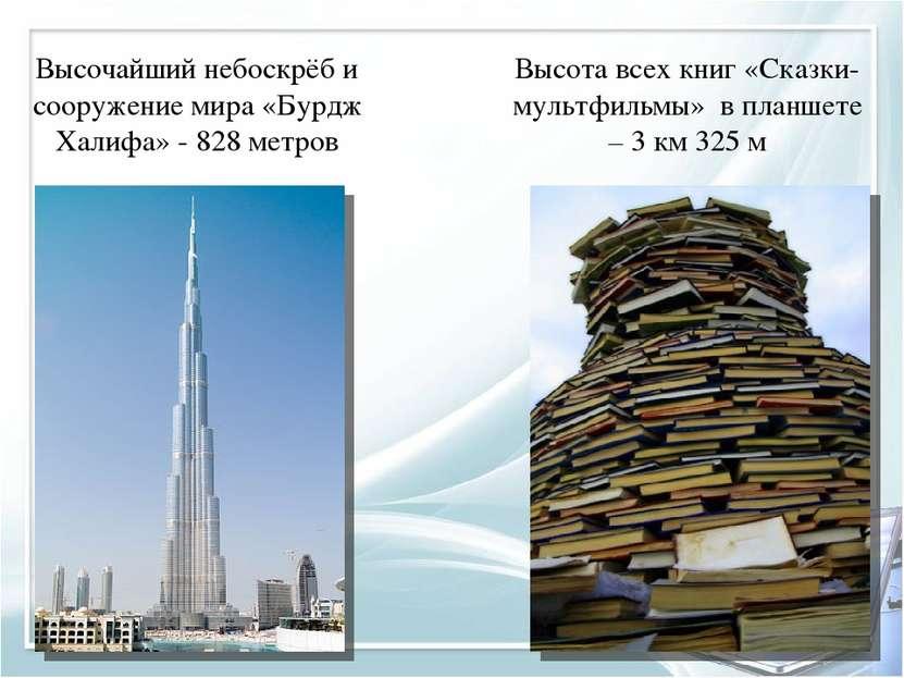 Высочайший небоскрёб и сооружение мира «Бурдж Халифа» - 828 метров Высота все...