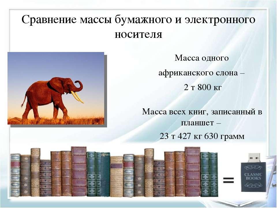 Сравнение массы бумажного и электронного носителя Масса всех книг, записанный...