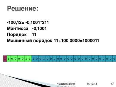 -100,12= -0,1001*211 Мантисса -0,1001 Порядок 11 Машинный порядок 11+100 0000...