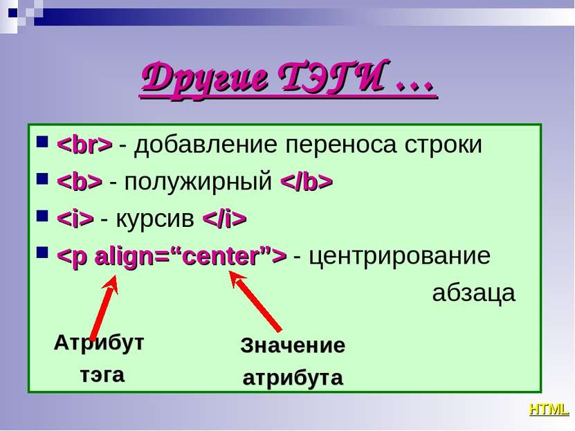 Другие ТЭГИ … - добавление переноса строки - полужирный - курсив - центрирова...