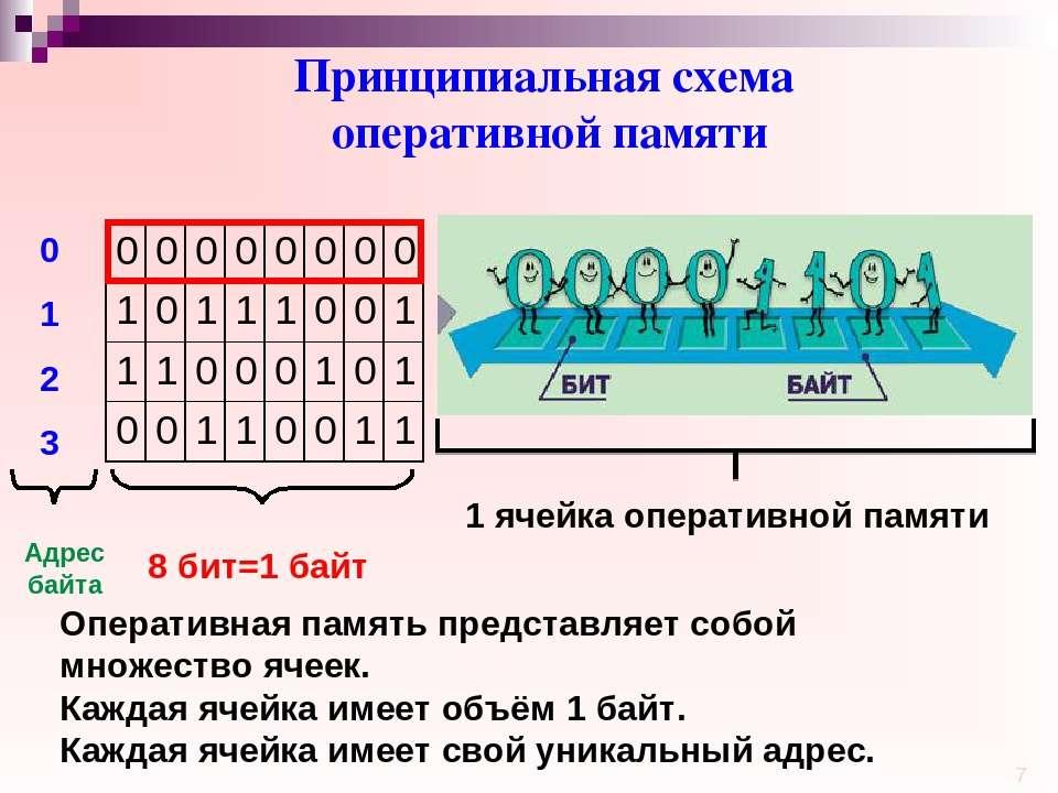 Принципиальная схема оперативной памяти 0 1 2 3 Адрес байта 8 бит=1 байт 1 яч...