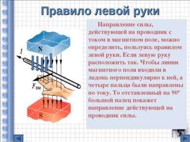 Правило левой руки Направление силы, действующей на проводник с током в магни...