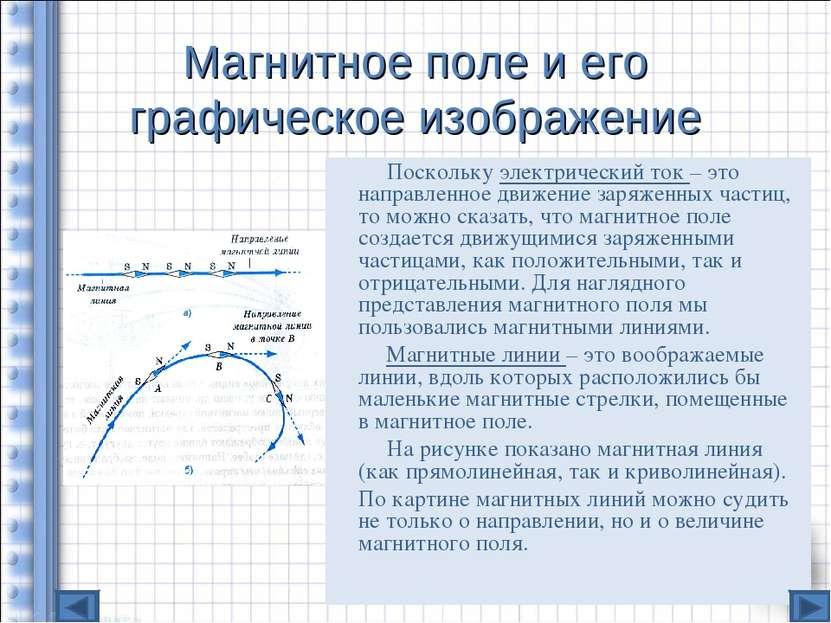 Магнитное поле и его графическое изображение Поскольку электрический ток – эт...