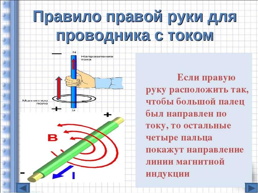 Правило правой руки для проводника с током Если правую руку расположить так, ...