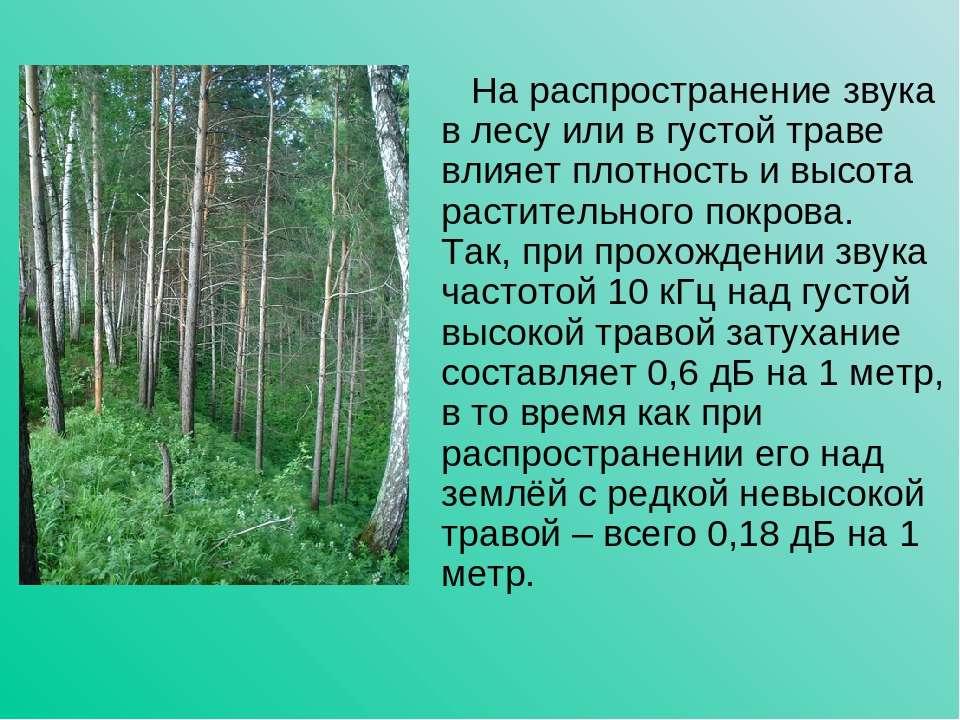 На распространение звука в лесу или в густой траве влияет плотность и высота ...
