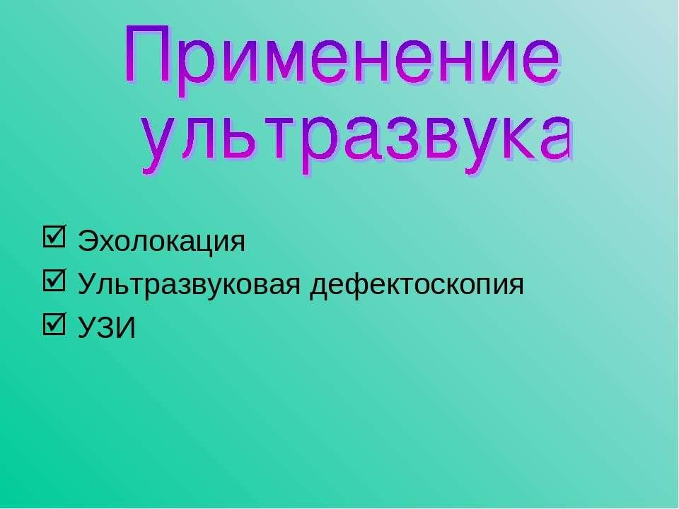 Эхолокация Ультразвуковая дефектоскопия УЗИ