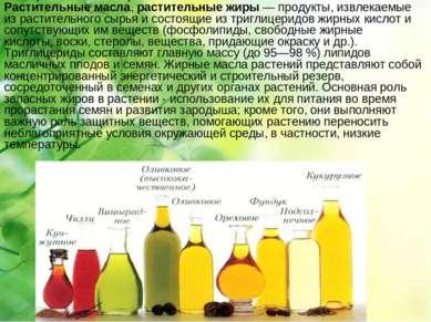 Расти тельные масла ,растительные жиры— продукты, извлекаемые из растительн...