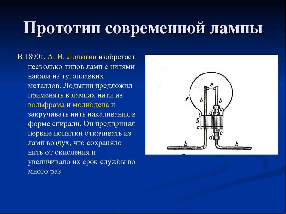 Прототип современной лампы В1890г. А.Н.Лодыгинизобретает несколько типов ...