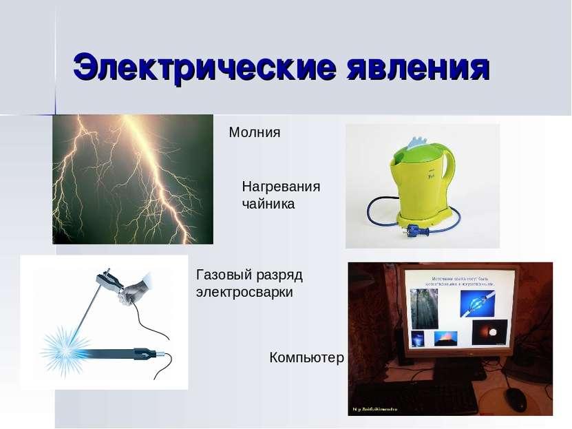 Электрические явления Молния Нагревания чайника Газовый разряд электросварки ...