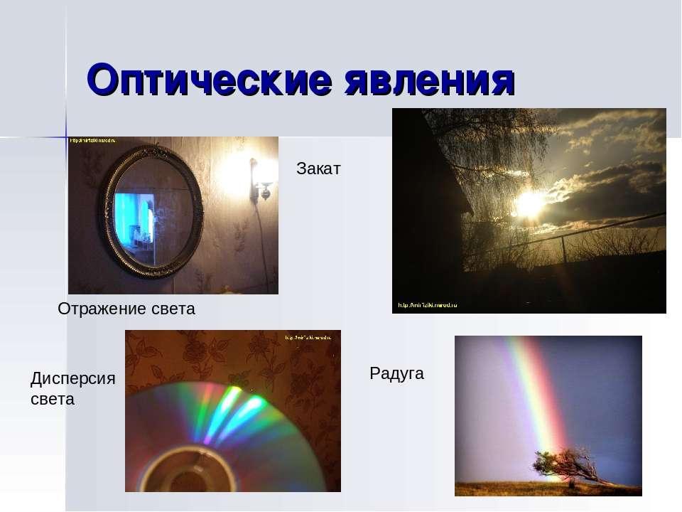 Оптические явления Отражение света Закат Радуга Дисперсия света