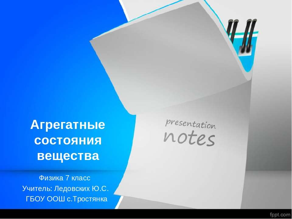 Агрегатные состояния вещества Физика 7 класс Учитель: Ледовских Ю.С. ГБОУ ООШ...