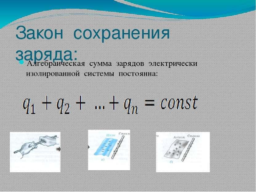 Закон сохранения заряда: Алгебраическая сумма зарядов электрически изолирован...