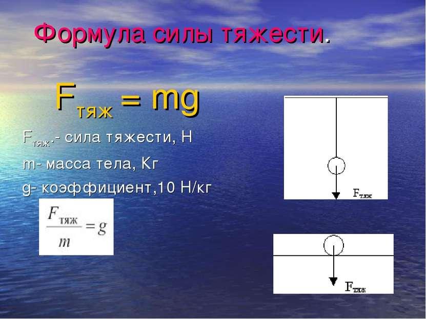 Формула силы тяжести. Fтяж = mg Fтяж.- сила тяжести, Н m- масса тела, Кг g- к...