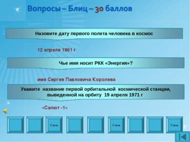 Стоп Стоп Стоп 12 апреля 1961 г имя Сергея Павловича Королева «Салют -1»