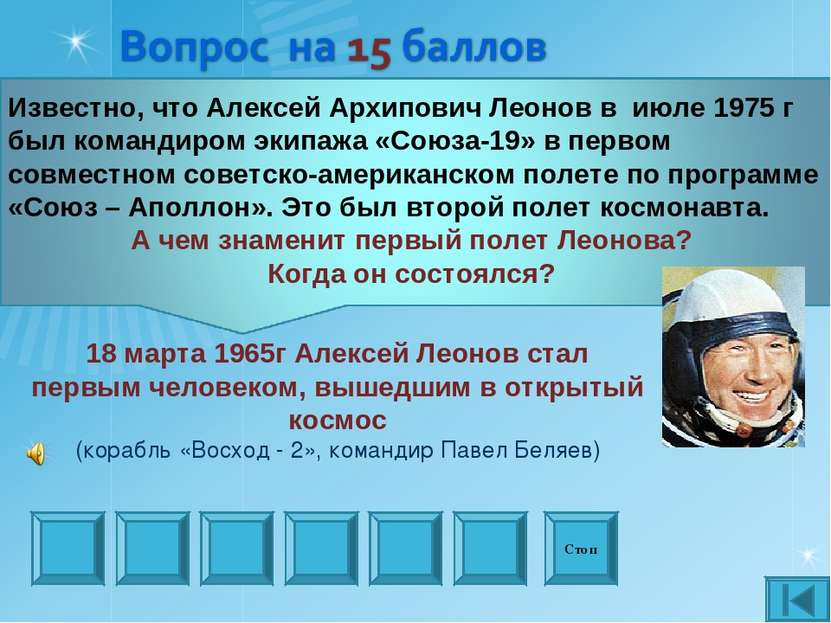 Стоп 18 марта 1965г Алексей Леонов стал первым человеком, вышедшим в открытый...