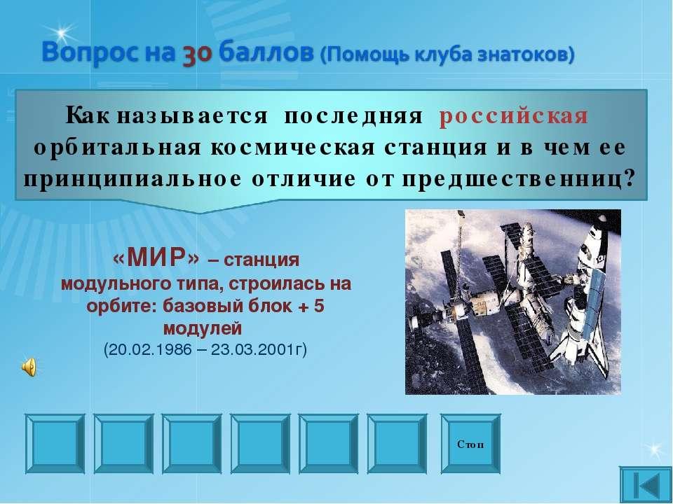 Стоп «МИР» – станция модульного типа, строилась на орбите: базовый блок + 5 м...