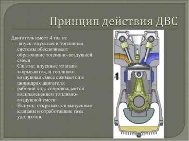 Двигатель имеет 4 такта: впуск: впускная и топливная системы обеспечивают обр...
