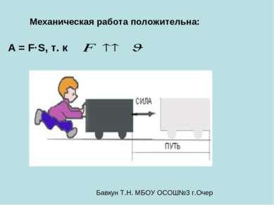 А = F·S, т. к Механическая работа положительна: Бавкун Т.Н. МБОУ ОСОШ№3 г.Очер