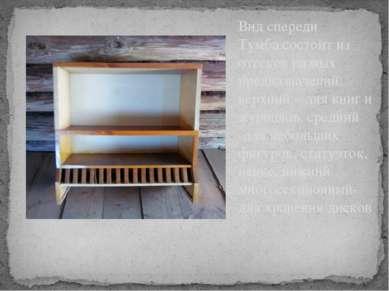 Вид спереди Тумба состоит из отсеков разных предназначений: верхний – для кни...