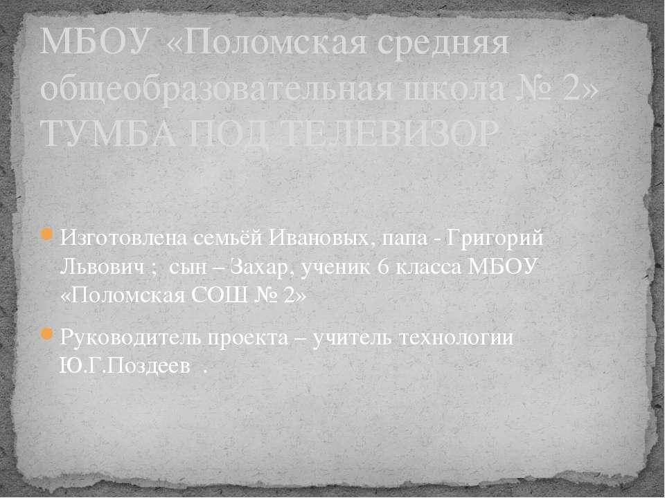 Изготовлена семьёй Ивановых, папа - Григорий Львович ; сын – Захар, ученик 6 ...