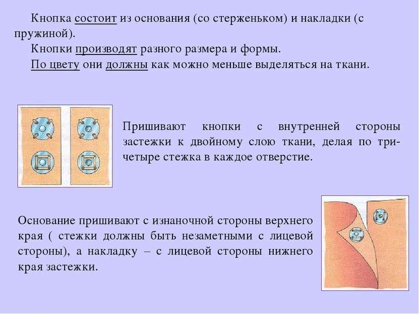 Кнопка состоит из основания (со стерженьком) и накладки (с пружиной). Кнопки ...