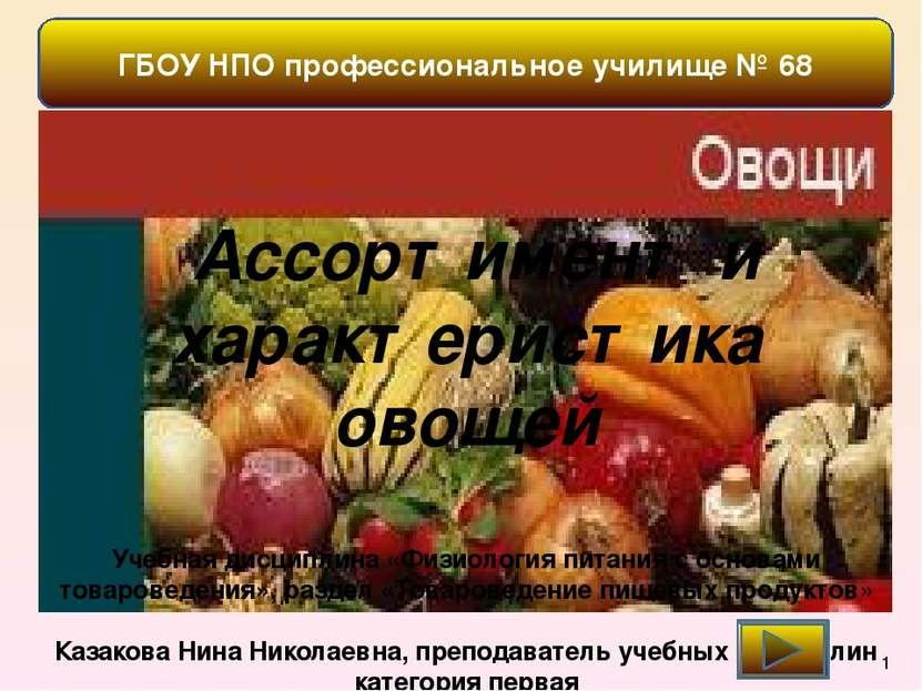 ГБОУ НПО профессиональное училище № 68 Ассортимент и характеристика овощей Уч...