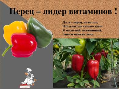 Перец – лидер витаминов ! Да, я – перец, но не тот, Что язык так сильно жжет....