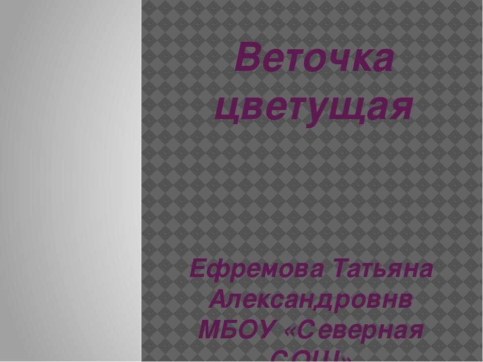 Веточка цветущая Ефремова Татьяна Александровнв МБОУ «Северная СОШ» Первомайс...