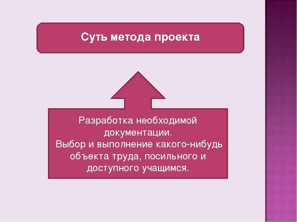 Суть метода проекта Разработка необходимой документации. Выбор и выполнение к...