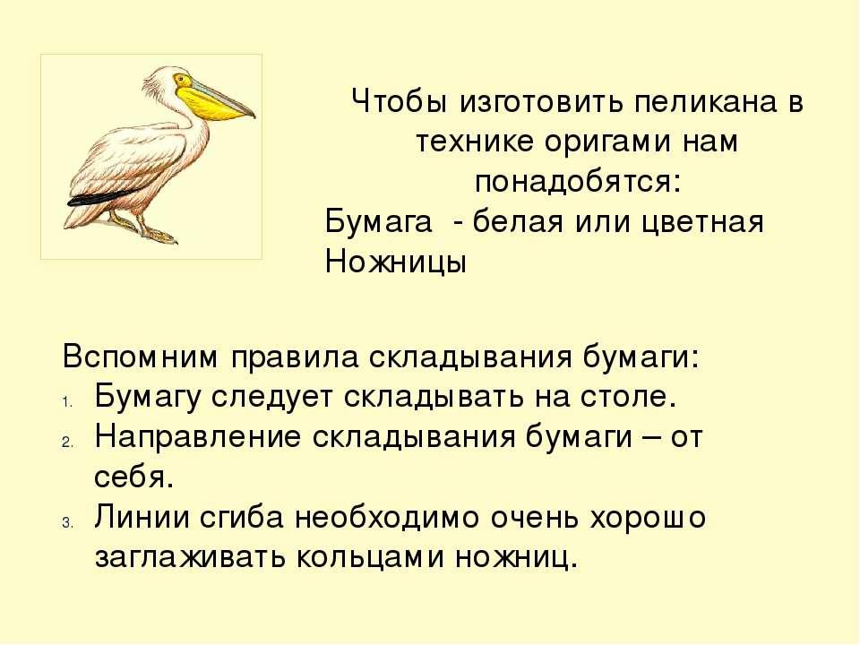 Чтобы изготовить пеликана в технике оригами нам понадобятся: Бумага - белая и...