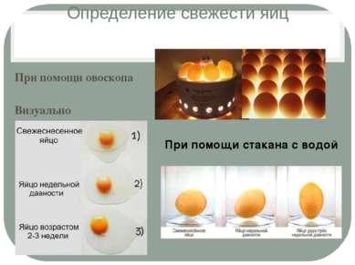 Определение свежести яиц При помощи овоскопа Визуально При помощи стакана с в...