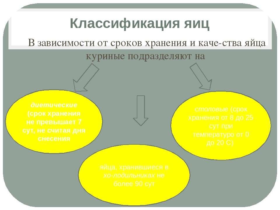 Классификация яиц В зависимости от сроков хранения и каче ства яйца куриные п...