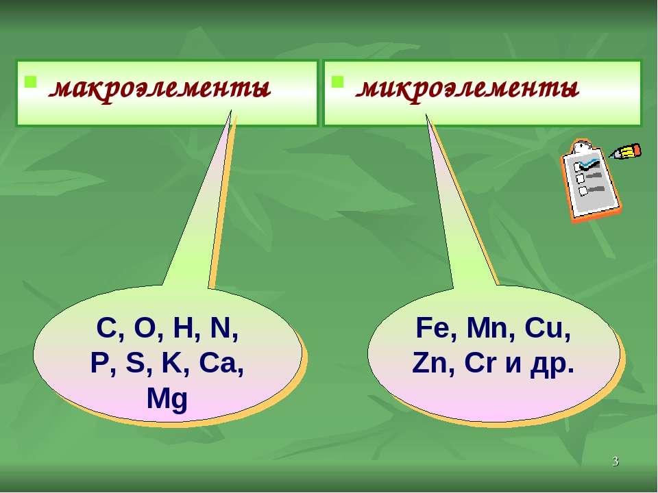 * макроэлементы микроэлементы Fe, Mn, Cu, Zn, Cr и др. C, O, H, N, P, S, K, C...